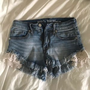 Mossimo high rise shorts with lace detail